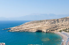 Panoramic view of Matala caves and Matala beach on the Crete island, Greece. Stock Image