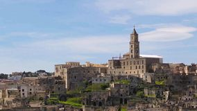 Panoramic view of Matera,basilicata, Italy. UNESCO European Capital of Culture 2019 stock video