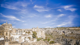 Panoramic view of Matera with in front of Royalty Free Stock Images