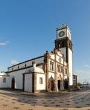 Clock tower of Church of San Sebastian at Ponta Delgada. Panoramic view of the Matriz square with clock tower of the Church of San Sebastian at Ponta Delgada on Stock Image