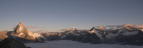 Panoramic view of the Matterhorn. At sunrise Stock Image