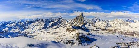 Panoramic view of Matterhorn. stock image
