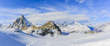 Panoramic view of Matterhorn. Panoramic view of Matterhorn on a clear sunny winter day, Zermatt, Switzerland Stock Image