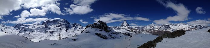 Panoramic view of Matterhorn Stock Photos