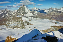 Panoramic view of Matterhorn peak, Alps Royalty Free Stock Photos