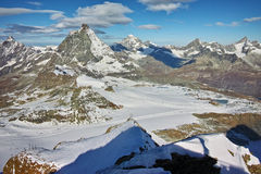 Panoramic view of Matterhorn peak, Alps Royalty Free Stock Photo