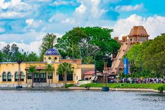 Panoramic view of Maya Pyramid and mexican restaurant in Mexico Pavilion at Epcot in Walt Disney World . Orlando, Florida . March 27, 2019. Panoramic view of royalty free stock image