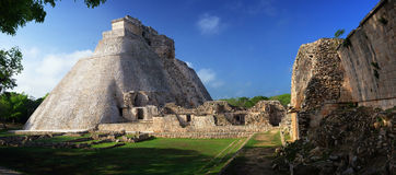 Panoramic view of the Mayan pyramids in Uxmal, Yucatan, Mexico. Stock Image