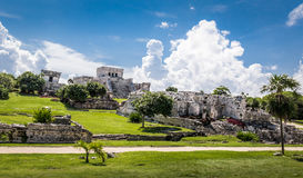 Panoramic view of Mayan Ruins - Tulum, Mexico stock images