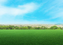 Panoramic view of a meadow against cityscape Stock Photography