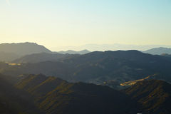 Panoramic view of meadows, hills and sky in Malibu. Creek State Park, California Stock Image