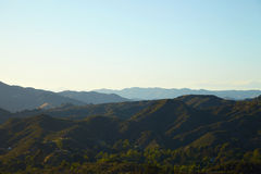 Panoramic view of meadows, hills and sky in Malibu. Creek State Park, California Stock Images