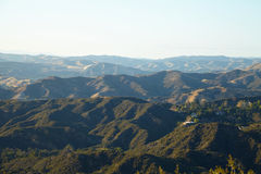 Panoramic view of meadows, hills and sky in Malibu. Creek State Park, California Royalty Free Stock Photo