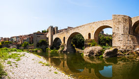 Panoramic view of medieval bridge Royalty Free Stock Images