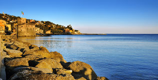 Panoramic view on medieval Castle in Rapallo, Ligure, Italy Royalty Free Stock Photos