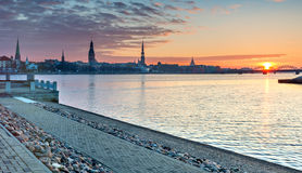 Panoramic  view on medieval city of Riga, Latvia Stock Images