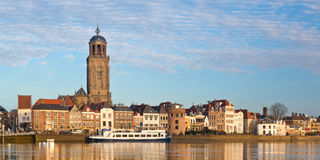 Panoramic view of the medieval Dutch city Deventer. Alongside the IJssel river Stock Image