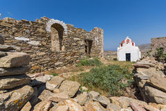 Panoramic view of a medieval fortress and White church, Mykonos island, Greece Stock Image