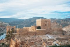 Panoramic view of medieval moorish fortress Alcazaba in Almeria. And mountains on the background, Andalusia, Spain Stock Image