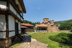 Panoramic view of medieval Poganovo Monastery of St. John the Theologian Royalty Free Stock Images