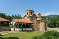 Panoramic view of medieval Poganovo Monastery of St. John the Theologian Royalty Free Stock Image