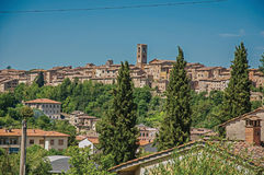 Panoramic view of the medieval town of Colle di Val d`Elsa. A graceful village with its historic center preserved and famous for its crystal production Stock Photography