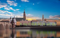 Panoramic view of medieval town in Germany. Panoramic view of Heidelberg and white clouds Royalty Free Stock Images