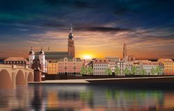 Panoramic view of medieval town in Germany. Panoramic view of medieval town Heidelberg in Germany Royalty Free Stock Photos