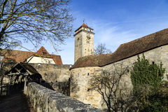 Panoramic view of the medieval town of Rothenburg ob der Tauber. Royalty Free Stock Photos