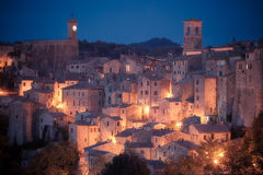 Panoramic view of medieval town. Sorano. Tuscany, Grosseto, Italy stock image