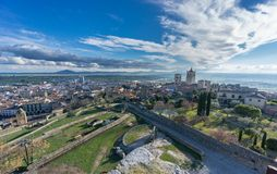 Panoramic view of the medieval town of Trujillo at dusk Royalty Free Stock Photography