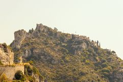 Panoramic view of the medieval village of Eze. Cote d`Azur French Riviera is situated in the southern eastern part of the mediterranean coast of France and it is royalty free stock photo