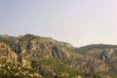 Panoramic view of the medieval village of Eze. Cote d`Azur French Riviera is situated in the southern eastern part of the mediterranean coast of France and it is royalty free stock photography