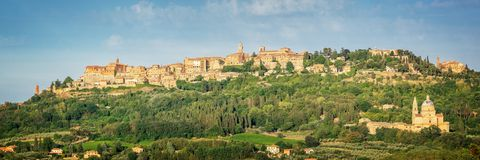 Panoramic view of the medieval village of Montepulciano, Tuscany Italy Royalty Free Stock Photo