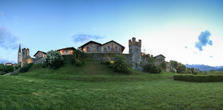Panoramic view of the Medieval village of Ricetto di Candelo in Piedmont, used as a refuge in times of attack during the Middle Ag. Candelo, Biella - May 4, 2016 stock photo