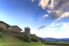 Panoramic view of the Medieval village of Ricetto di Candelo in Piedmont, used as a refuge in times of attack during the Middle Ag Royalty Free Stock Image