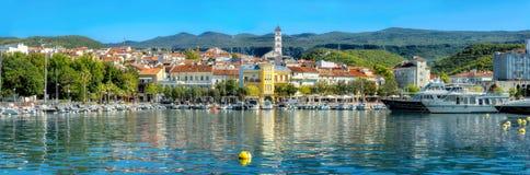 Resort town Crikvenica. Istria, Croatia. Panoramic view of mediterranean coastal town Crikvenica. Istria, Croatia stock photos