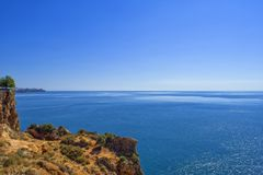 Panoramic view Mediterranean Sea from the Beach park. Antalya, Turkey Stock Images