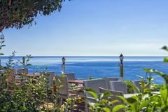 Panoramic view on the Mediterranean Sea from the restaurant in the Ataturk park. Antalya, Turkey.  Royalty Free Stock Image