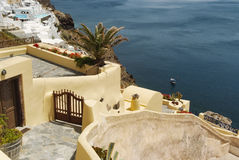 Panoramic view on the mediterranean sea.Traditional architecture in Oia, Santorini Stock Images