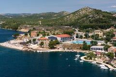 Panoramic view on mediterranean town of Sibenik, Croatia from the top of mountin Stock Image