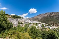 Panoramic view on mediterranean village Trevelez / Spain royalty free stock photography