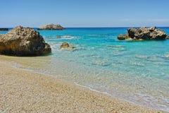 Panoramic view of Megali Petra Beach, Lefkada Stock Photography