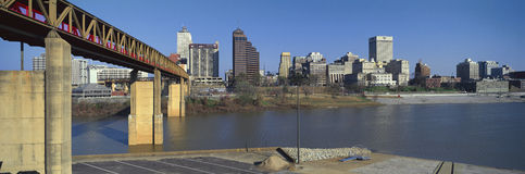 Panoramic view of Memphis, TN skyline from bottom of bridge over the Mississippi River Stock Image