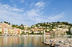 Panoramic view of Menton, France Stock Images