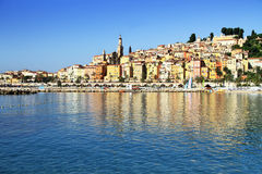 Panoramic View of Menton on the french Riviera in the South of F. Rance near Monaco Stock Image