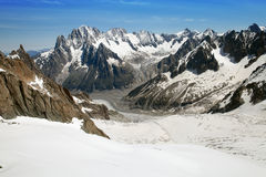 The panoramic view of The Mer de Glace (Sea of Ice), France. The panoramic view of The Mer de Glace (Sea of Ice) from The Panoramic Mont-Blanc cable car Stock Photo