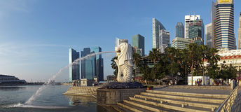 Panoramic view on Merlion Park, Singapore stock photos