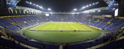 Panoramic view of Metalist Stadium in Kharkiv. Kharkiv, Ukraine - November 15, 2016: Panoramic view of Metalist stadium before Friendly match between Ukraine and Royalty Free Stock Image