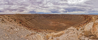 Panoramic view of Meteor Crater Stock Photos